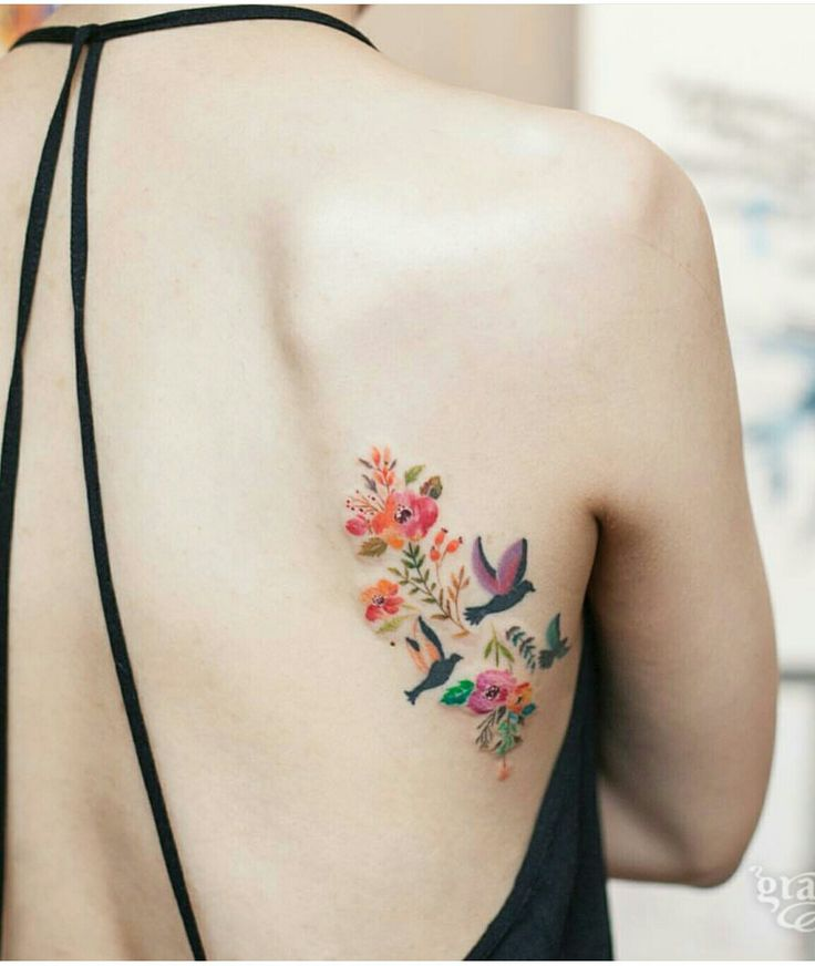 Tattoo flower and bird
