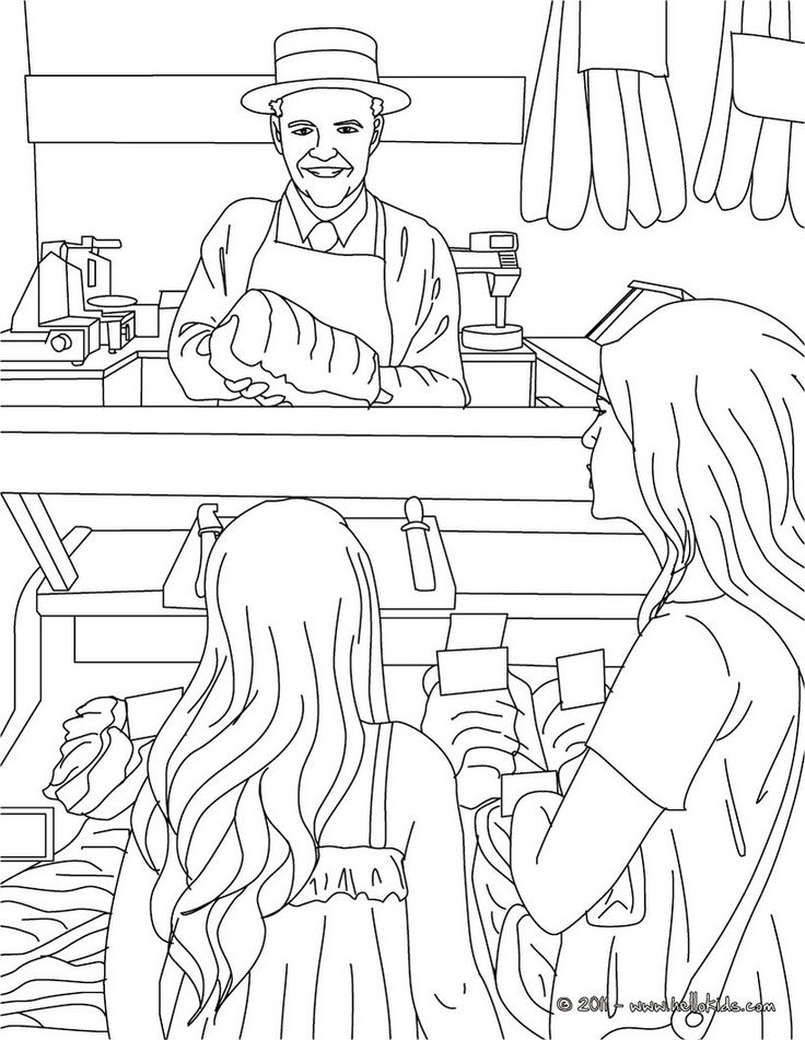 Butcher working in his shop coloring page. Amazing way to discover job. More original content on hellokids.com