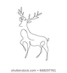 One line design silhouette of deer.hand drawn minimalism style.vector illustrati… – Friederike Becker