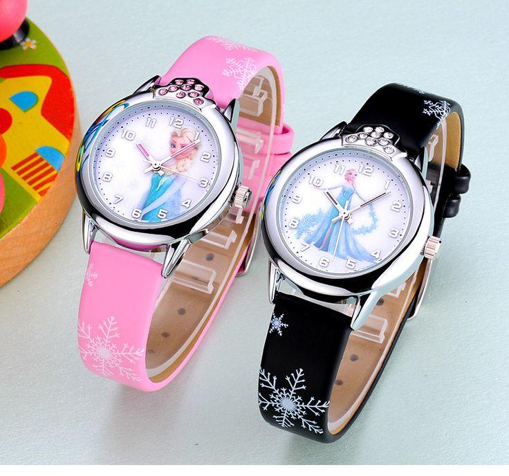 New Cartoon Children Watch Princess Watches Fashion Kids Cute Leather quartz - free shipping worldwide
