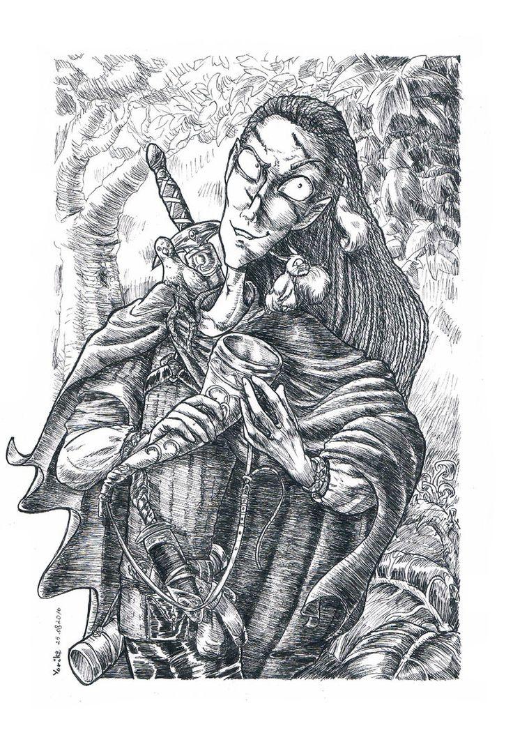 Sajjadin. Elf from Scoia'tael commando. Character from Arkadia MUD game.