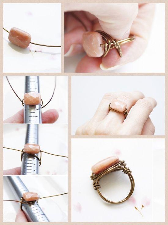 Diy wire wrapped bead ring. Trying this ASAP Lust darauf mit Schmuck Geld zu verdienen? www.silandu.de