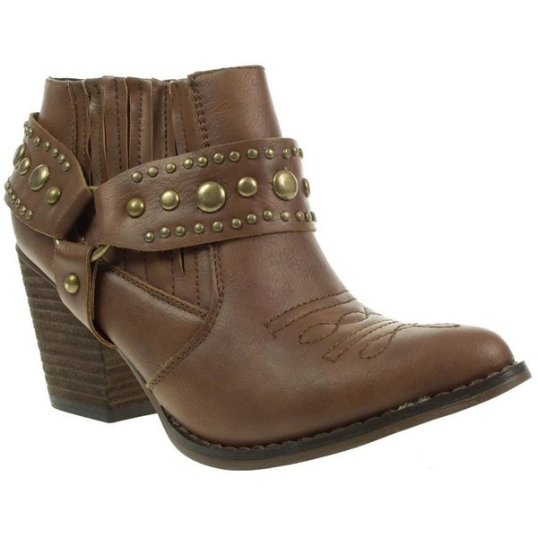 Tan Truffle Studded Trim Cowboy Ankle Boots ($51) ❤ liked on Polyvore