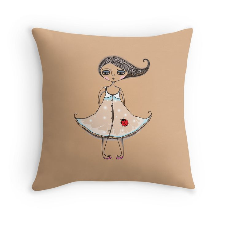"""""""Girl with Ladybug"""" Throw Pillows by smotrivnebo   Redbubble"""