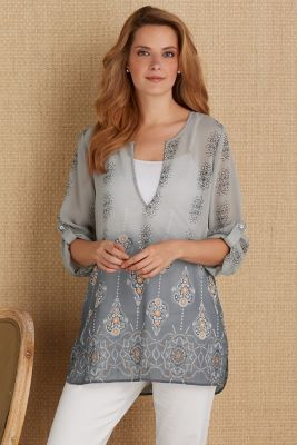 Mystic Tunic - Chiffon Tunic, Sheer Chiffon Tunic | Soft Surroundings Outlet