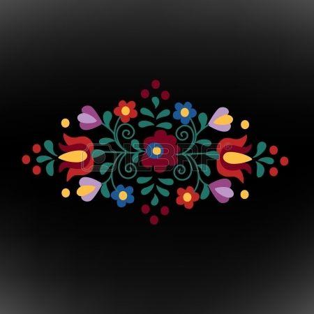 Hungarian folk ornament on black background