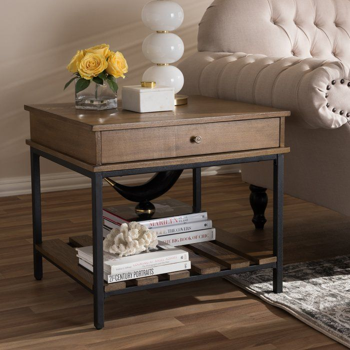 Pillar Rustic Industrial Style End Table Black End Tables Home