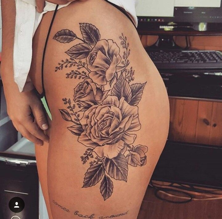 flower side hip tattoos - photo #9