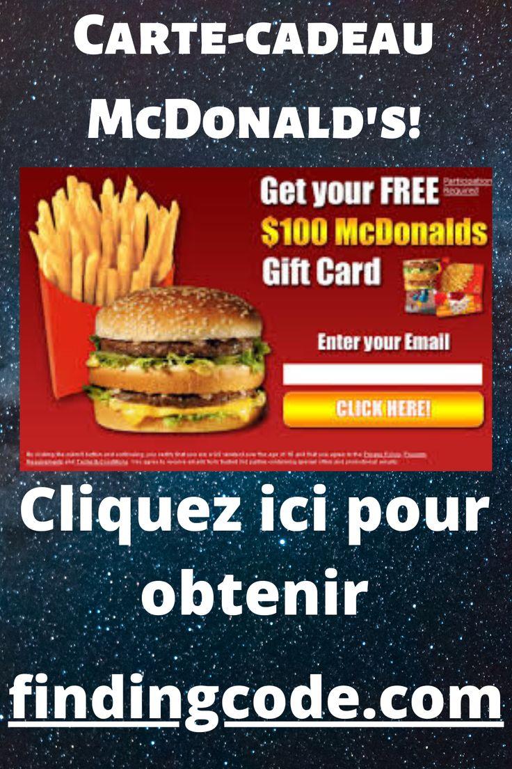 Cartecadeau mcdonalds in 2020 free mcdonalds