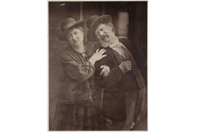 Circa 1872 self-portrait photograph by Oscar Gustav Rejlander (1813-1875) with his wife Mary.