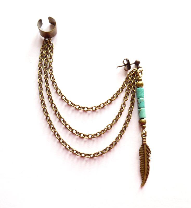 Ear cuff i brons med kedjor och turkos.