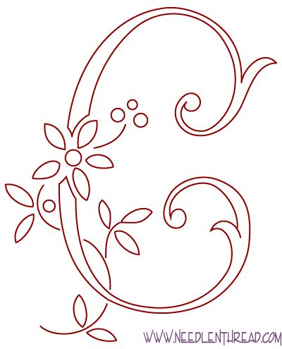 Free Hand Embroidery Pattern: Monogram of the Letter C