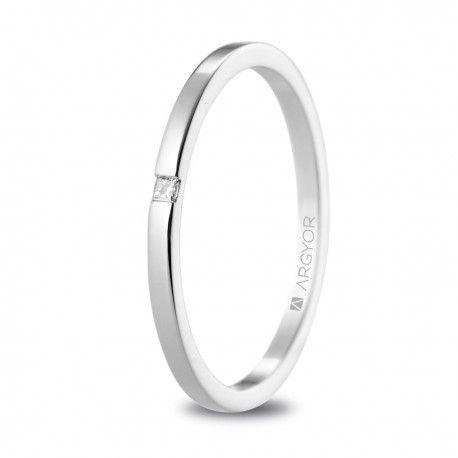 299eb0d0930c Anillo de matrimonio de oro blanco con diamante (5B17530P ...
