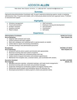 Administrative Coordinator Resume Sample