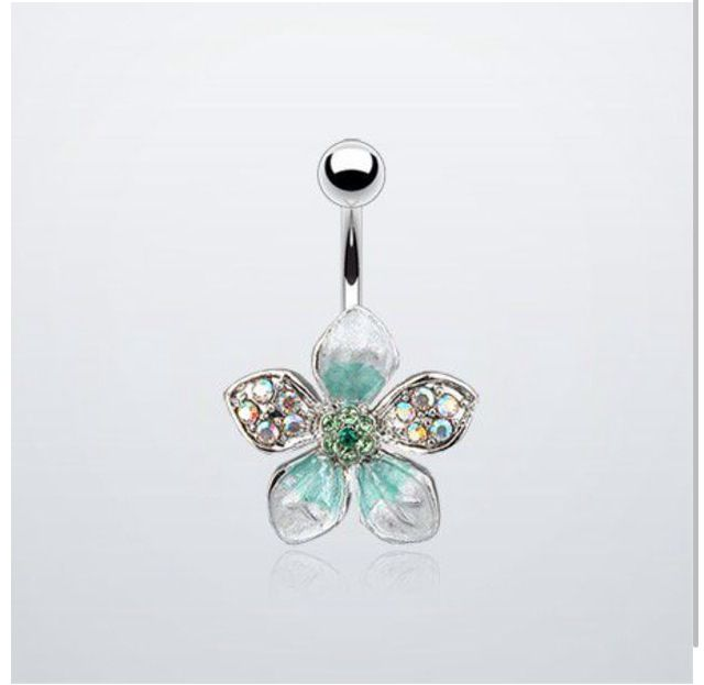 Blue flower belly ring