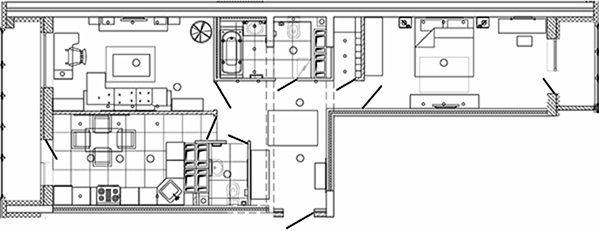 В данной квартире прихожая Г-образной формы. Прямо, по ходу движения, идут двери в санузел. По правую сторону – спальня, по левую – три двери, ведущие соответственно в гостиную, кухню и гардеробную. Более детально с планировкой квартиры можно ознакомиться на схеме внизу страницы.