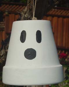 clay pot ghost simplemaybe add sparkleglitter to jazz - Halloween Simple Crafts