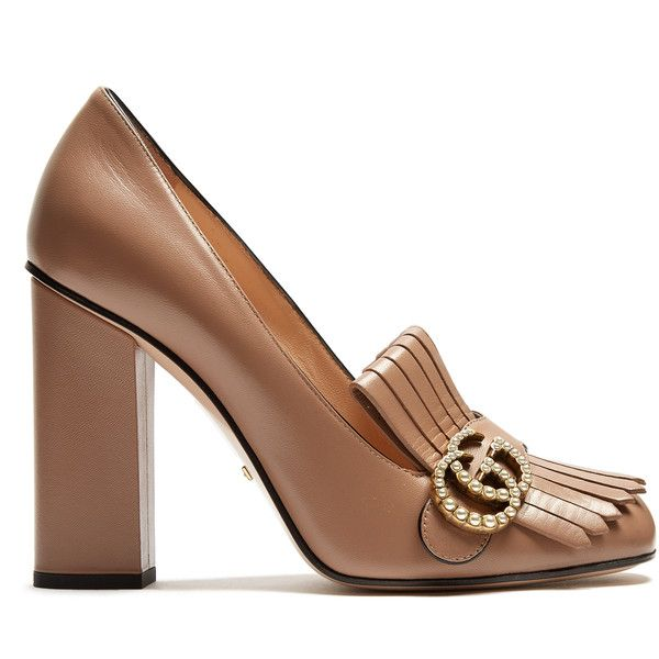 Gucci Marmont fringed leather pumps (11 120 ZAR) ❤ liked on Polyvore featuring shoes, pumps, nude, leather shoes, real leather shoes, nude leather shoes, leather fringe shoes and nude block heel shoes