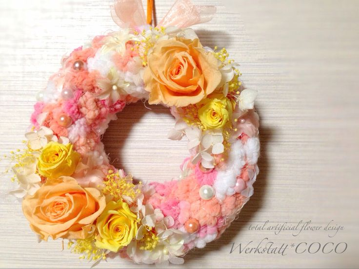 puffy wreath*beige rose http://wercoco.theshop.jp/items/592252