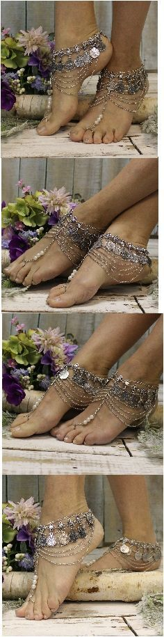 "Casablanca barefoot sandals handmade by Catherine Cole gold or silver #wedding #beach #festival wedding, foot jewelry, beach wedding, bridal ""PIN this pretty for later!'"