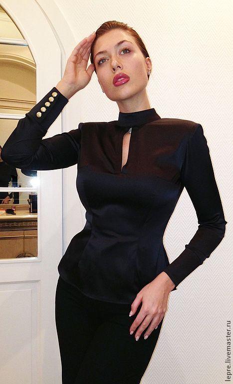 Купить Приталенная блуза из шелк- атласа LepreItaly - черный, lepre, lepreitaly, блуза, черная блуза