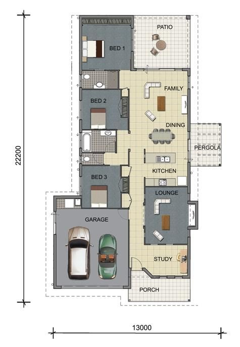 House floor plan design rendered single storey home for Beach house designs townsville