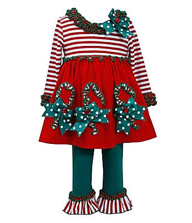 Baby 324 months stripedetail holiday dress and leggings set dillards