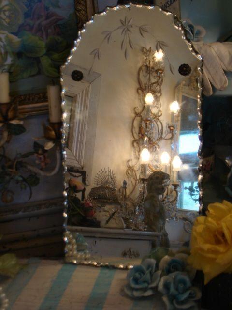 Antique 1920's Ruffled Edge Etched Mirror  www.parispanacheantiques.com