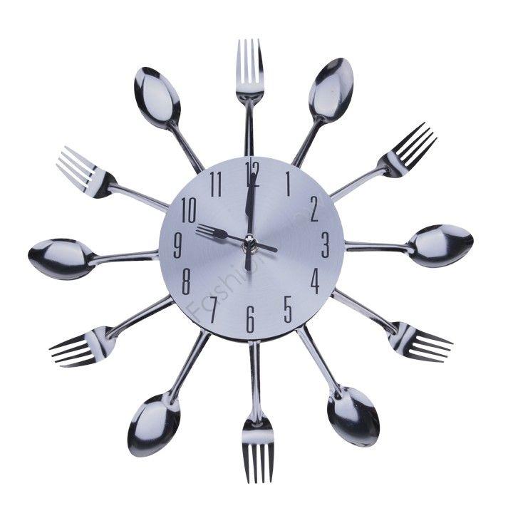 cheap cool design elegante e moderno orologio da parete argento posate da cucina utensile vintage design