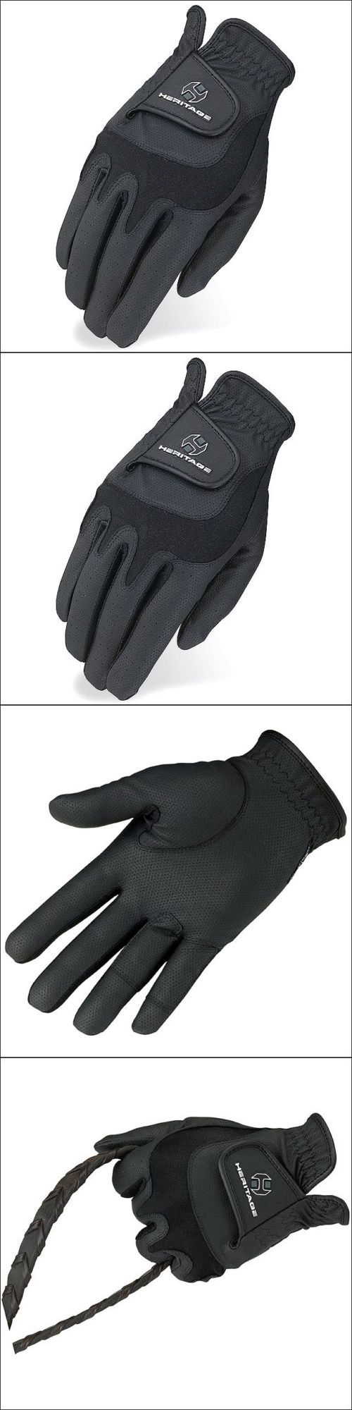 Ladies leather horse riding gloves - Riding Gloves 95104 11 Size Heritage Elite Show Horse Riding Equestrian Glove Lycra Leather Black