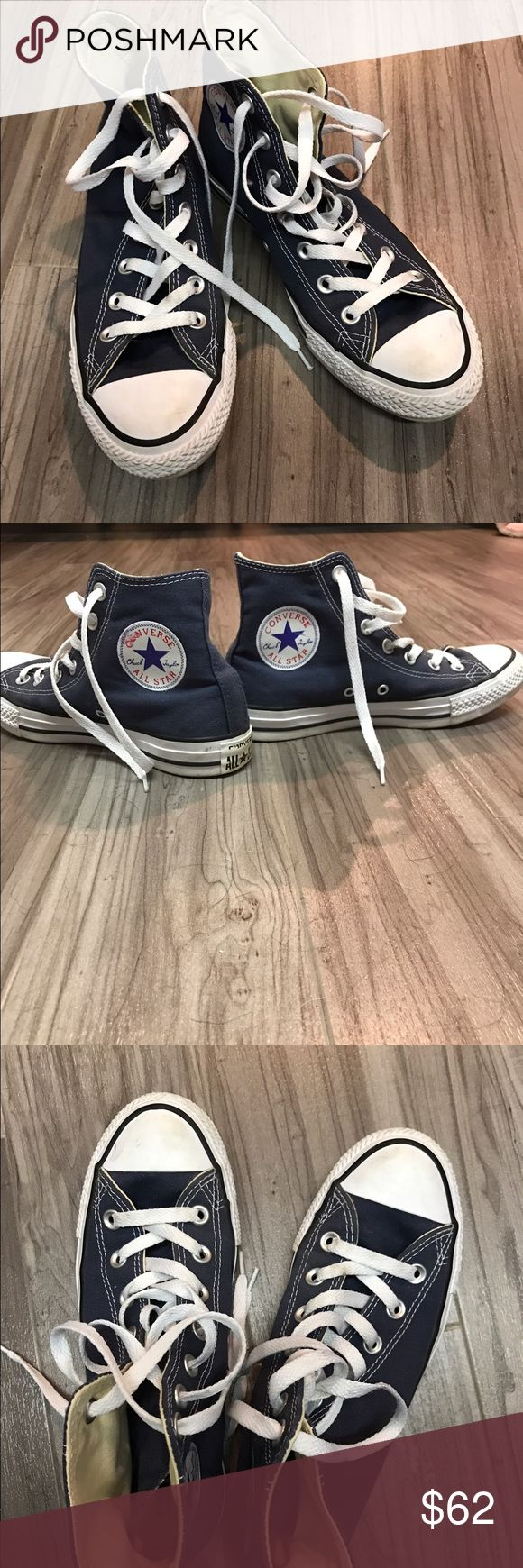 Dark blue high top converse Worn once or twice! Converse Shoes Sneakers