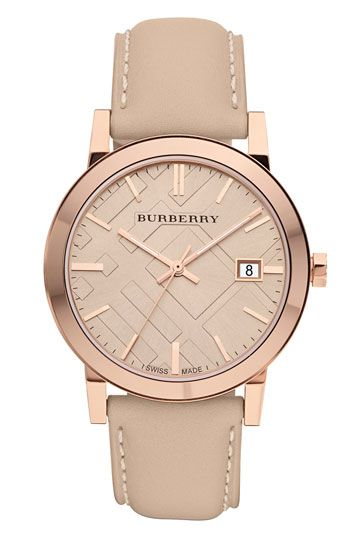 I love nude colors! Burberry Timepieces Check Stamped Round Dial Watch   Nordstrom