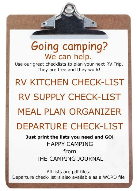 Check lists for RV camping- A list is a must!  Until you get the hang of doing this a million times I think a list would be of great help!