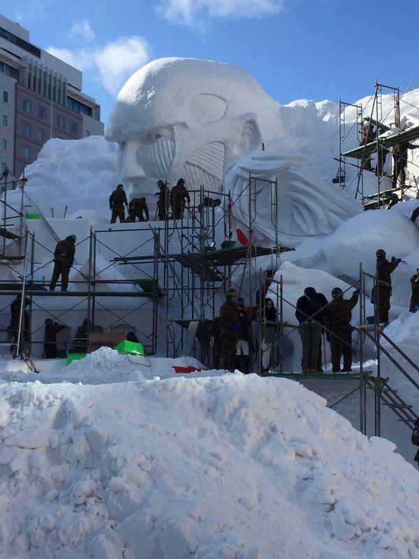 さっぽろ雪まつりの進撃の巨人の雪像のクオリティがハンパない→陸自製作でした - Togetterまとめ