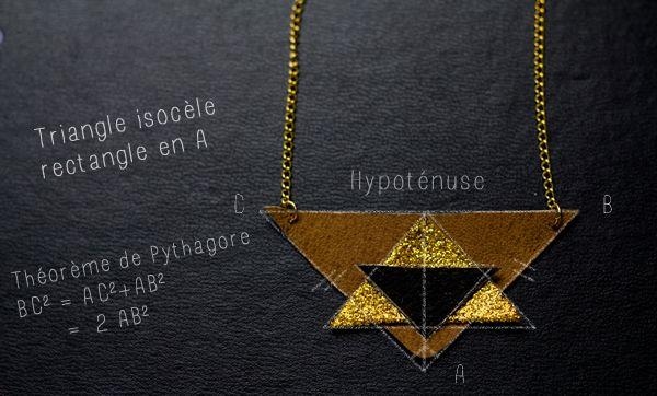 Du cuir et des paillettes pour ce collier très géométrique à faire soi-même