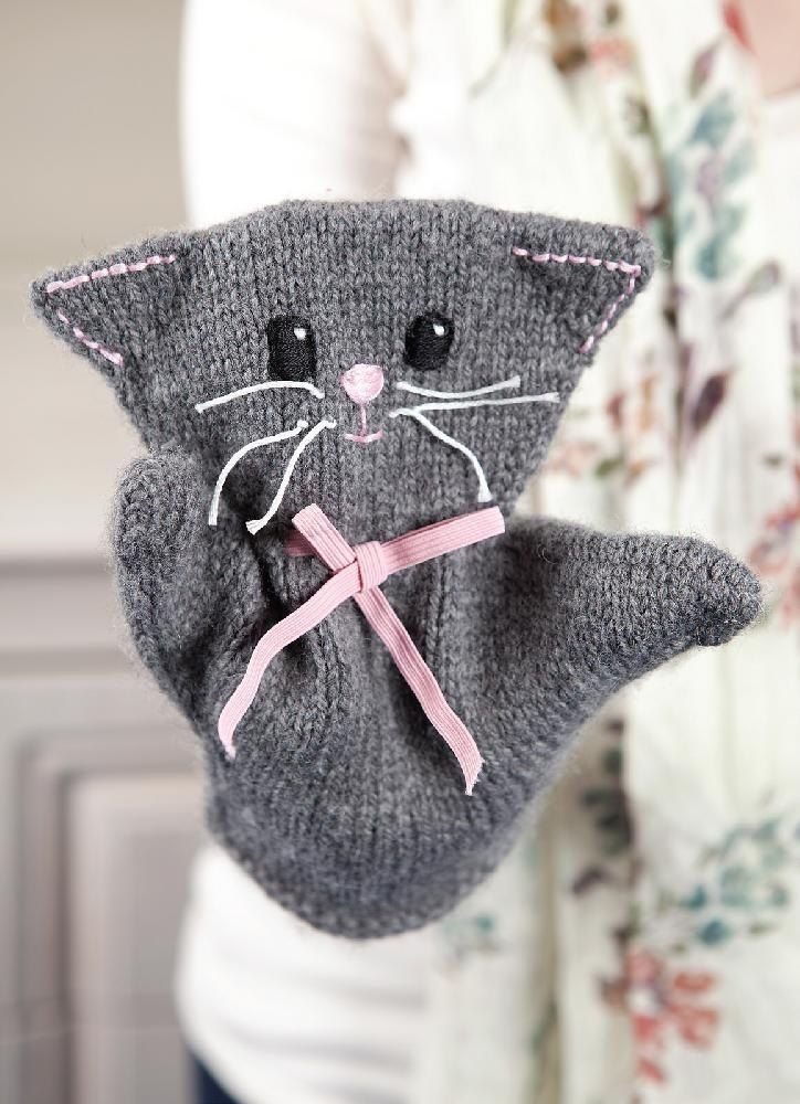 If you're looking for a quick gift for your little ones, why not try this cute kitty puppet? Knit in the round from the bottom up this is a quick and simple knit.This pattern requires about 100 yards of DK yarn, 50cm of 6mm wide elastic and embroidery thread/ scrap yarn for decorating the face.