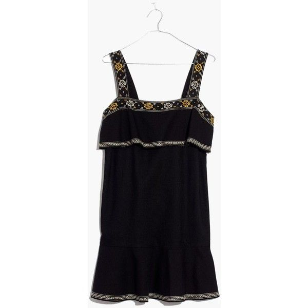 MADEWELL Embroidered Tier Dress ($148) ❤ liked on Polyvore featuring dresses, true black, night out dresses, madewell dresses, holiday party dresses, stitching dresses and madewell