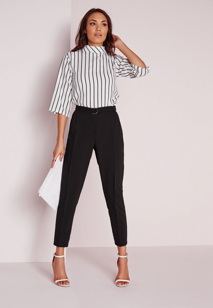 The cigarette trouser should be a staple piece of every girls wardrobe and this pair ticks all our boxes. With it's D ring belt detail and flattering leg shape,pair with a crisp white shirt and barely there heels for smart work wear vibes. ...