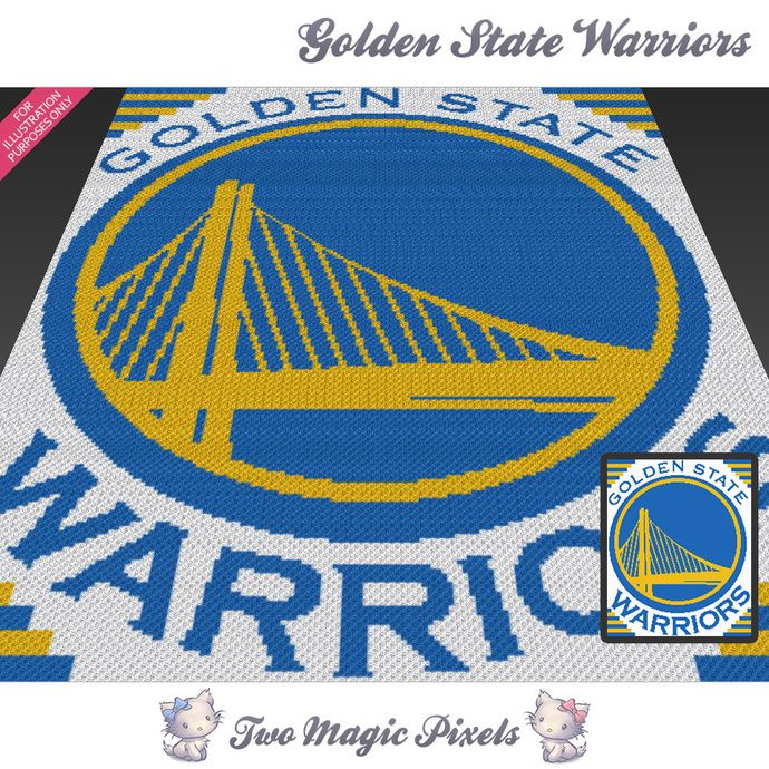 Golden State Warriors crochet blanket pattern; knitting, cross stitch graph; pdf download; NBA; no written counts or row-by-row instructions by TwoMagicPixels, $5.69 USD