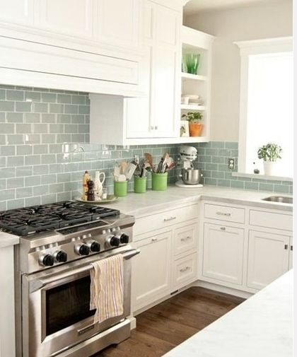 Subway tile & open cabinets                              …