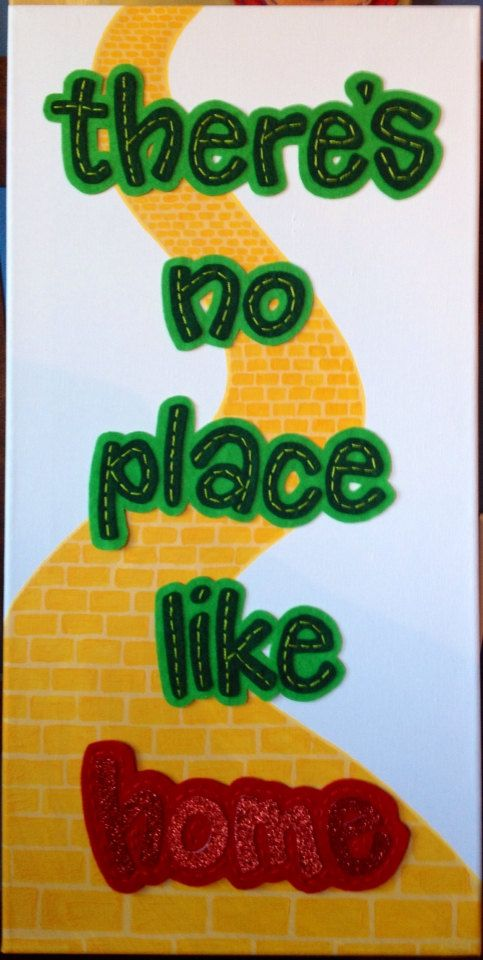 "There's no place like home - The Wizard of Oz -  12"" x 24"" Painted Canvas with…"
