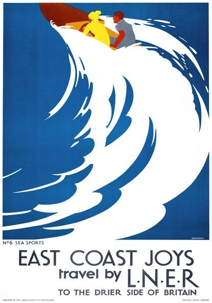 East Coast Joys No 6 - Sea Sports. LNER Vintage Travel Poster by Tom Purvis. 1931//.,mar16
