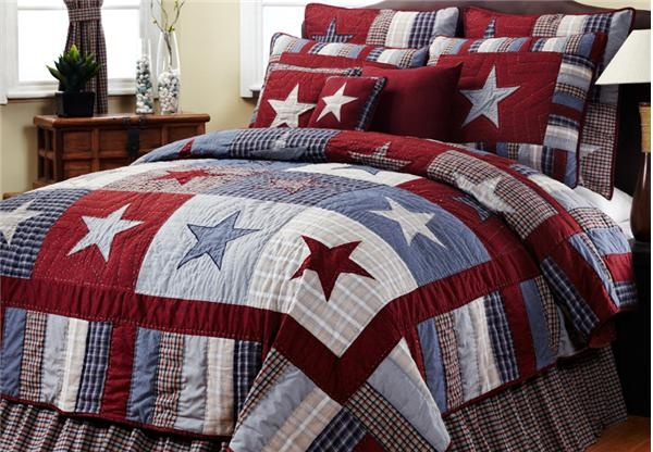 My son choose red, white, blue as the main colors for his soon to be redecorated room. I hope grandma will help out making a patchwork bedspread similar to this.