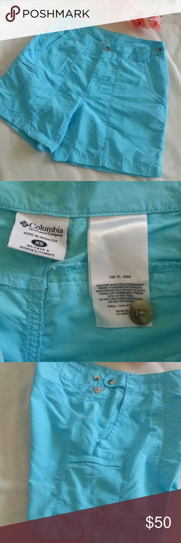 "Columbia XS Blue Shorts PFG Columbia PFG light blue shorts excellent condition Size XS Waist 29.5"" Inseam 5.5"" Hips 36"" Columbia Shorts"