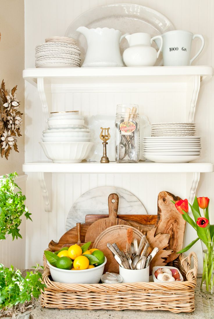 But not just one big tray, which may only lead to more confusion. Corral items you'd like to keep on hand, grouping like things in smaller containers within the tray, or even a shallow basket. Learn more at Heather Bullard.  Heather Bullard   - Redbook.com