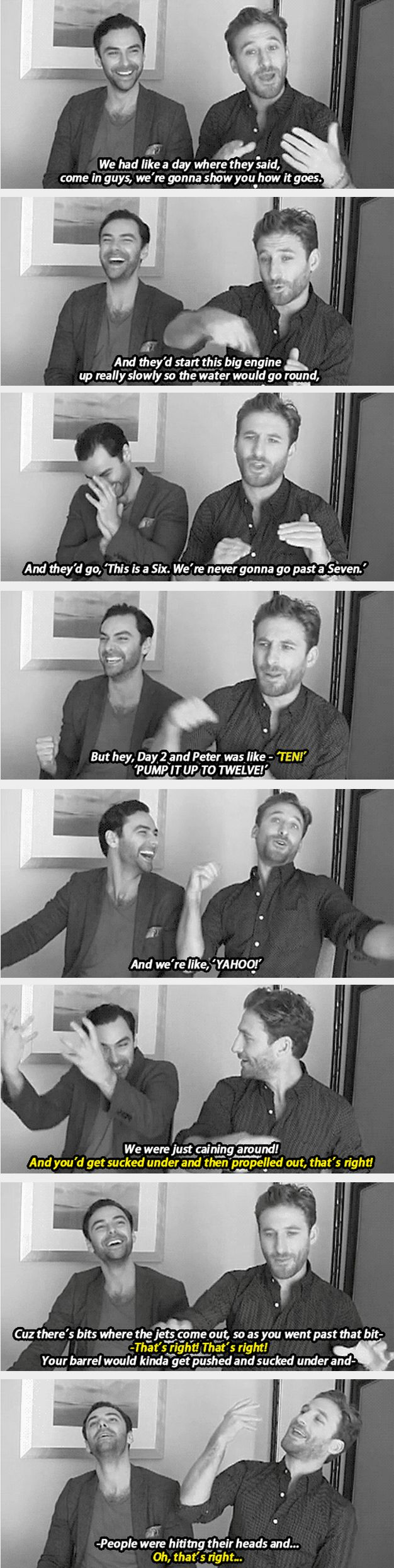 Dean O'Gorman and Aidan Turner on filming the barrel sequence<---they seem like they had a really good time almost dying...can't say I wouldn't...