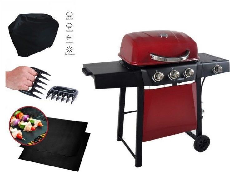 Stainless Steel Gas Grill 3-Burner Propane Mat Cover Claws Patio BBQ Set RED