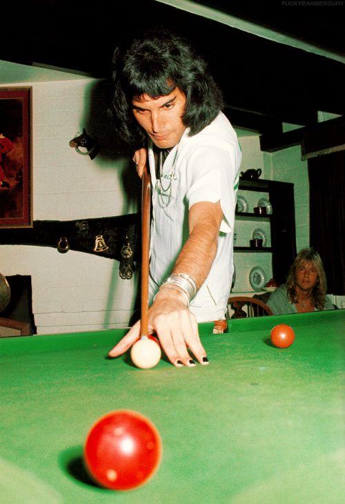 Freddie Mercury playing pool at Ridge Farm - 1975