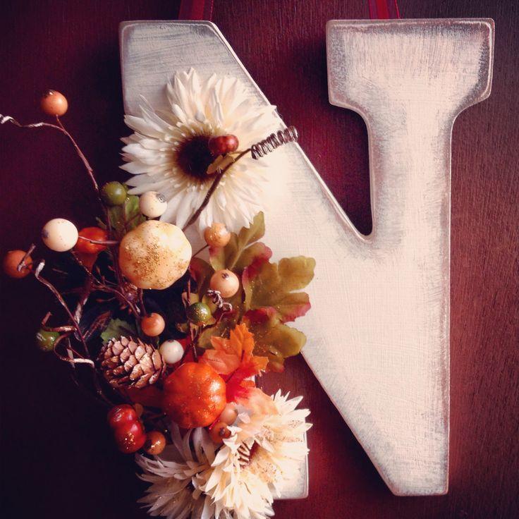 DIY monogram fall door decoration