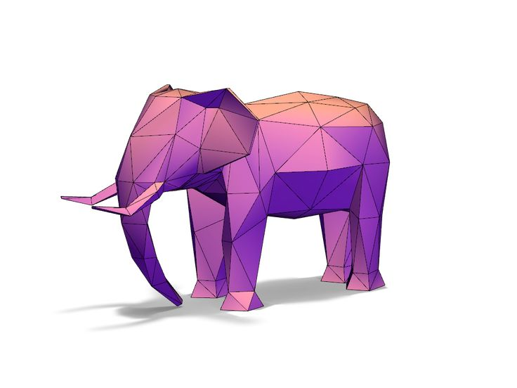 Lowpoly elephant - a 3D model created with VECTARY - the free online 3D modeling tool #3Dprinting